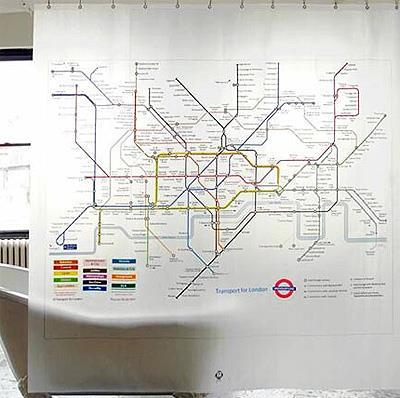 Занавеска для ванной со схемой метро (фото)