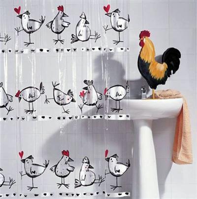 Оригинальная занавеска для ванны с цыплятами (фото)