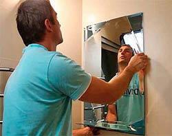 Cпособы крепления зеркала в ванной