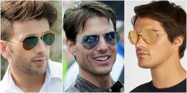 Модные мужские очки: Классические авиаторы с золотой оправой