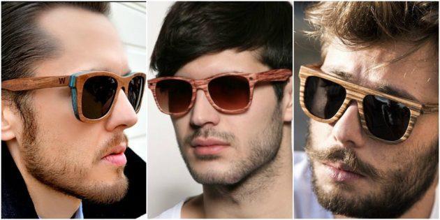 Модные мужские очки: Оправа под натуральное дерево или бамбук