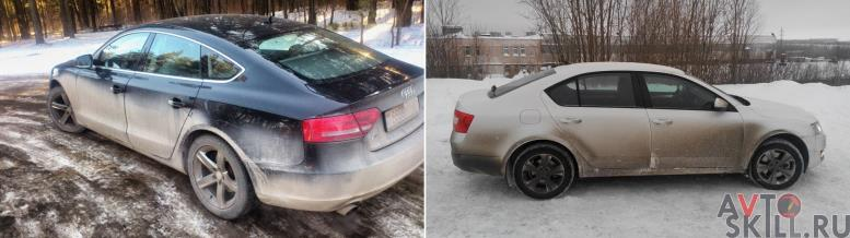Сравнение грязных автомобилей черного и белого цветов