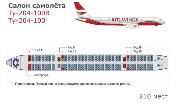 Схема самолета Ту-204 Red Wings Airlines