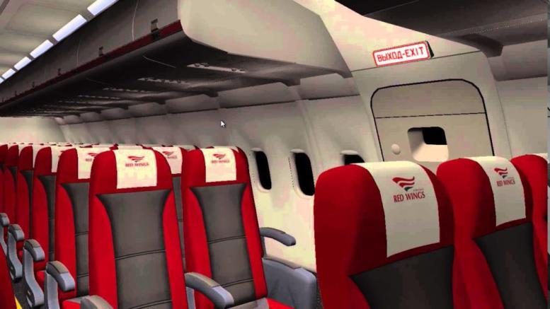 Салон самолета Ту-204 Red Wings Airlines