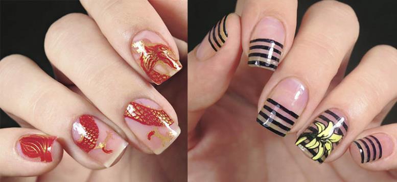 negative space яркие ногти и нежный дизайн