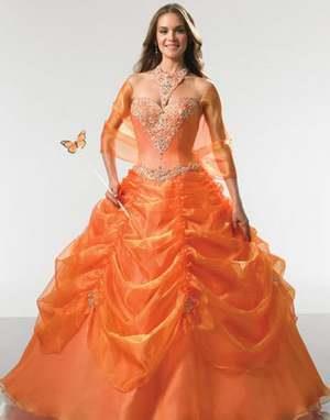 Свадебное платье оранжевого цвета