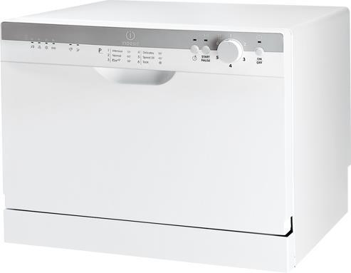 Белоснежная компактная посудомоечная машина Индезит с панелью задач на фасаде