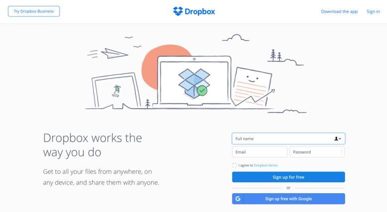 Дизайн сайта Dropbox