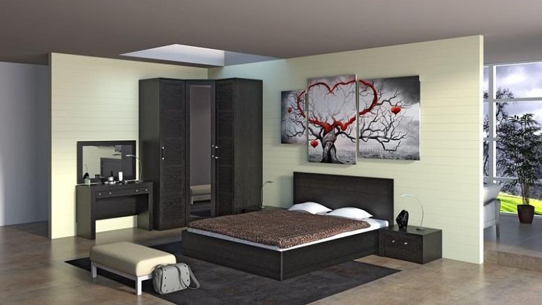 Модульная мебель для спальни в цвете венге