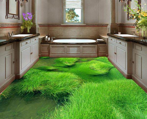 Зеленый 3Д наливной пол в ванной комнате