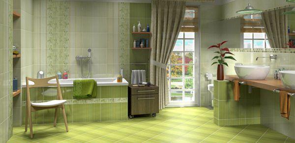 Зеленый кафель на полу и стенах