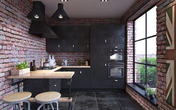 Черный пол на кухне в стиле лофт