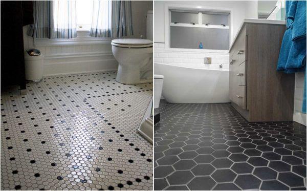 Шестиугольная плитка в ванной комнате