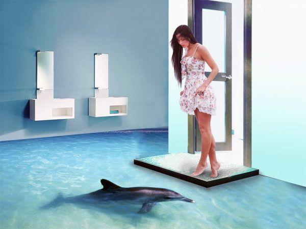 Голубой наливной пол в ванной комнате