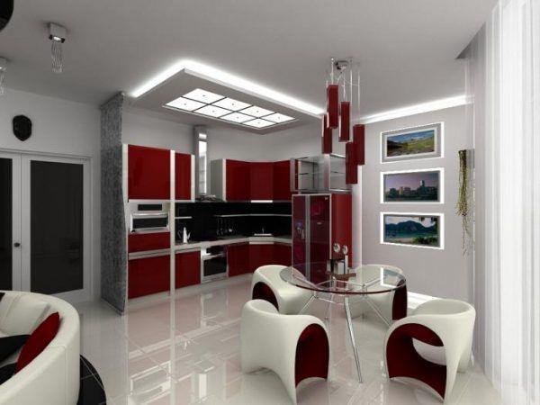 Интерьер кухни-гостиной в стиле хай-тек