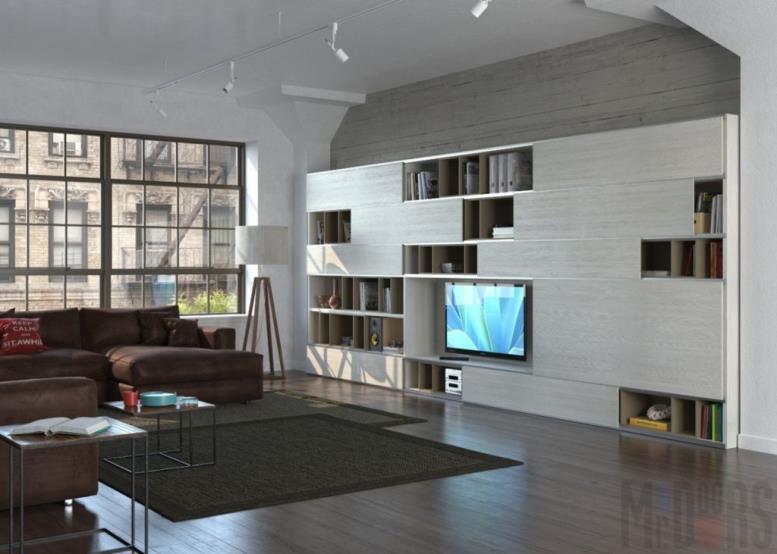Светлая стенка с нишей для ТВ в гостиной