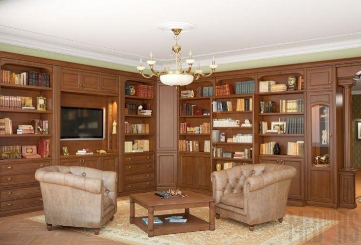 Гостиная, совмещенная с библиотекой, в классическом стиле