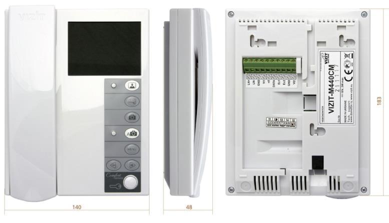 Размеры аппарата видеодомофона VIZIT