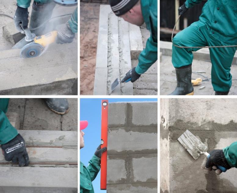 Строительство бани из блоков: шаги 7-12