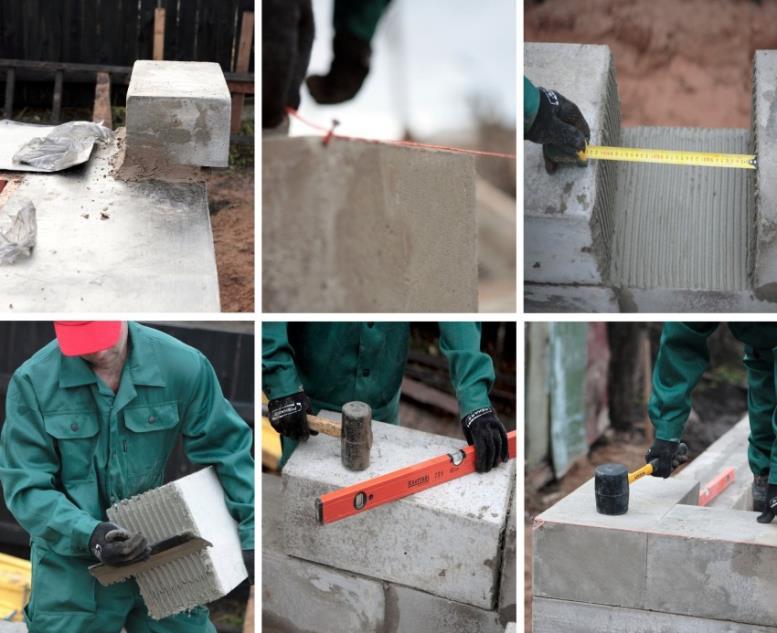 Строительство бани из блоков: шаги 1-6