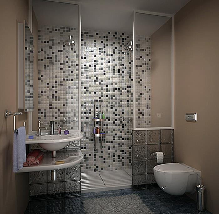 Мозаика в маленькой ванной