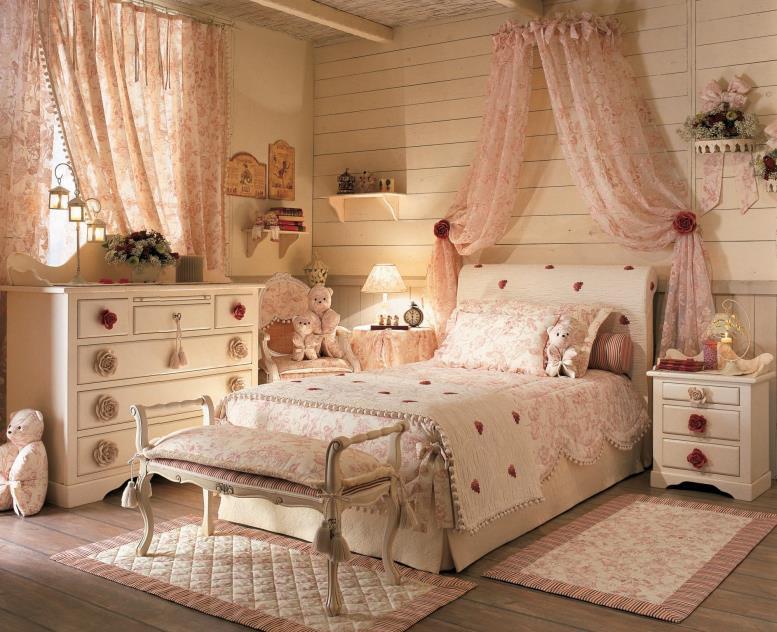 комната в стиле прованс для девочки с балдахином