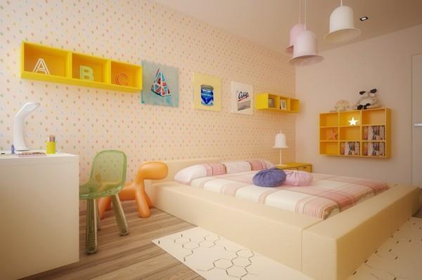 яркие аксессуары в комнате для девочки