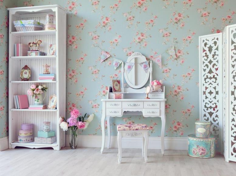 комната в стиле шебби-шик для девочки с белой мебелью