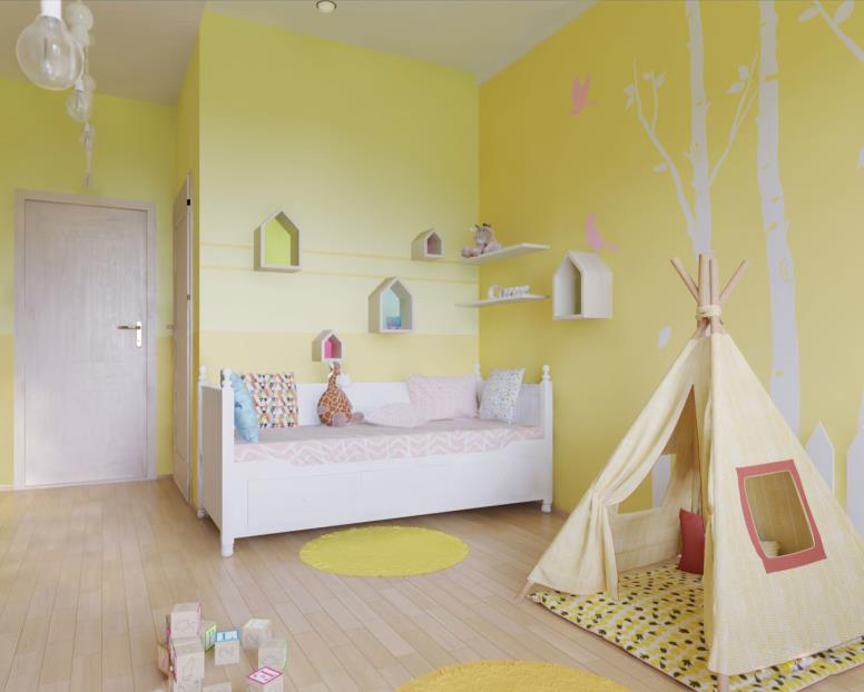 желтая комната для девочки с палаткой