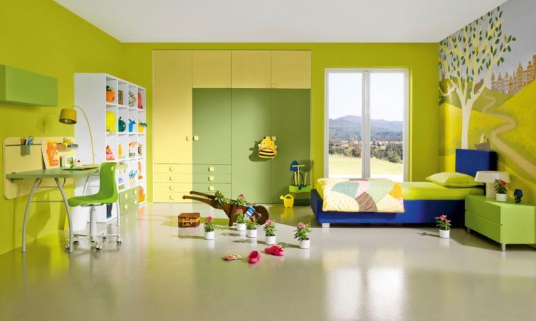 желто-зеленая спальня для детей