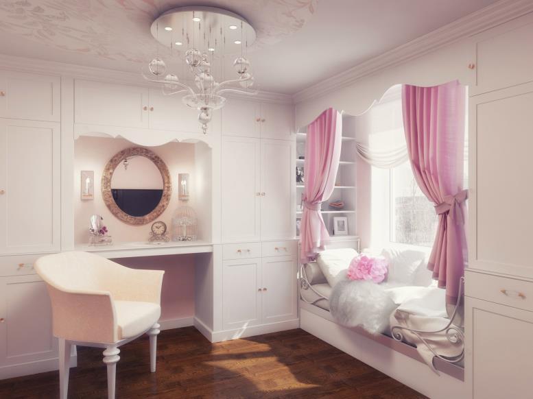 женственное оформление комнаты девочки подростка