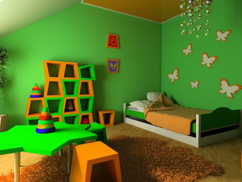 зеленые обои для спальни детей с декором бабочки на стене