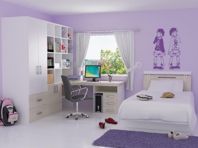 светло-сиреневые обои для спальни девочки