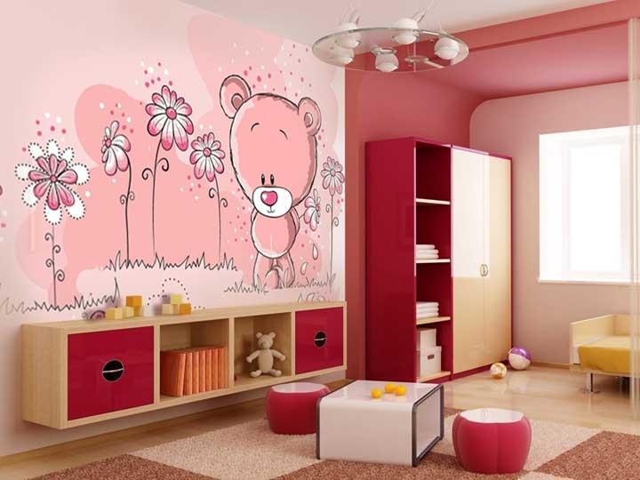 обои для маленьких детей мишка тедди в интерьере розовой комнаты