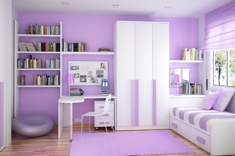 фиалковые обои с белой мебелью в спальне девочки