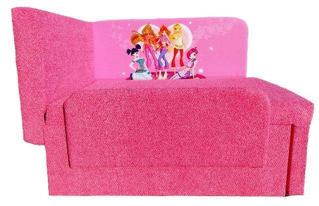 обивка розового дивана с мультгероями винкс