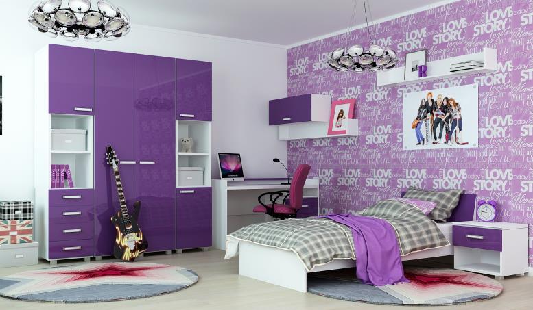 сиреневая комната для девочки подростка с постером