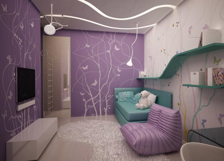 лиловые обои для комнаты девочки с полкой во всю стену