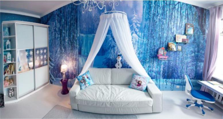 Интерьер детской комнаты девочки с фотообоями в стиле Холодное сердце