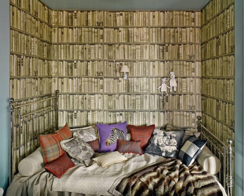 Фотообои в оформлении ниши в спальной зоне детской комнаты