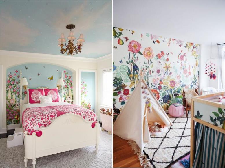 Цветочные мотивы в интерьере детской комнаты девочки