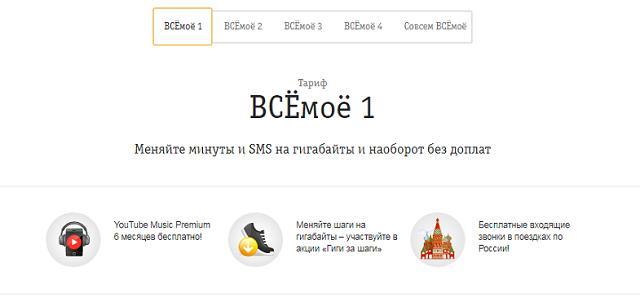 """Тариф Билайн """"ВСЁмоё 1"""""""