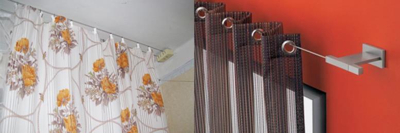 Виды конструкций карнизов.На фото струнные карнизы