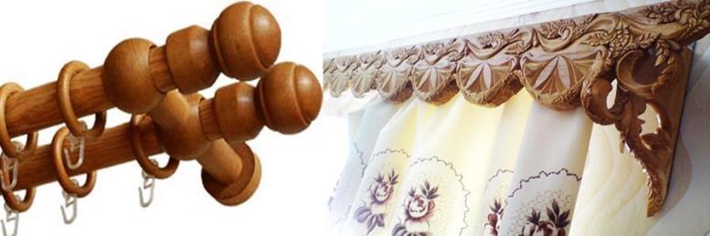 Какие бывают карнизы для штор. На фото деревянные карнизы