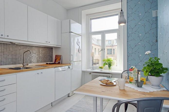 дизайн обоев для маленькой кухни