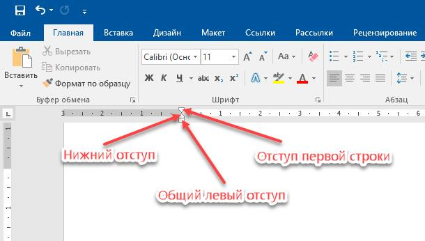 Microsoft Word: Отступы