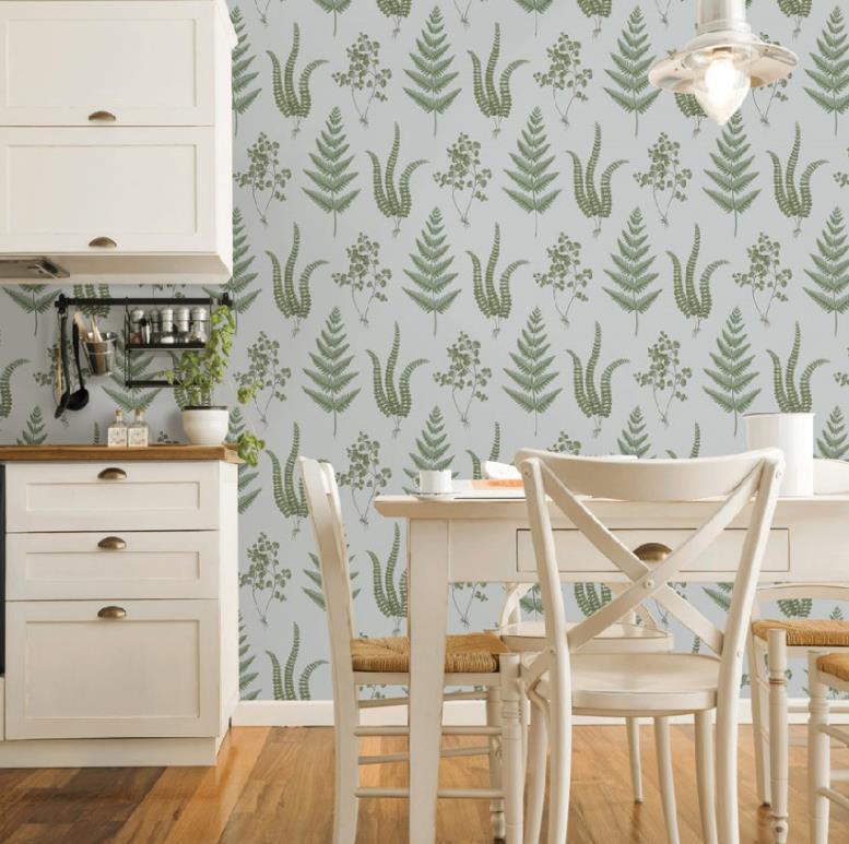 Обои с изображением зелени прекрасно украсят кухню в пастельных тонах