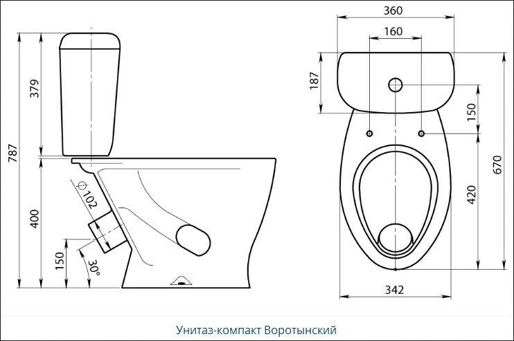 Santeri «Воротынский» Нижний подвод воды, косой выпуск, слив воды с функцией «stop»