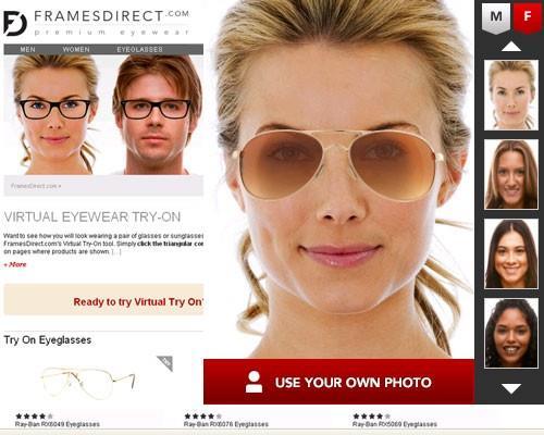FramesDirect - подбор очков онлайн по фотографии бесплатно
