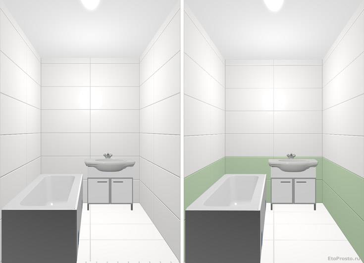 Белая плитка большого размера в маленькой ванной комнате
